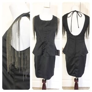 NWT! Black brand Scoop back chains dress